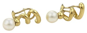 Tiffany & Co. 7.5mm Pearl 18k Yellow Gold Spiral Design Long Post Clip Earrings