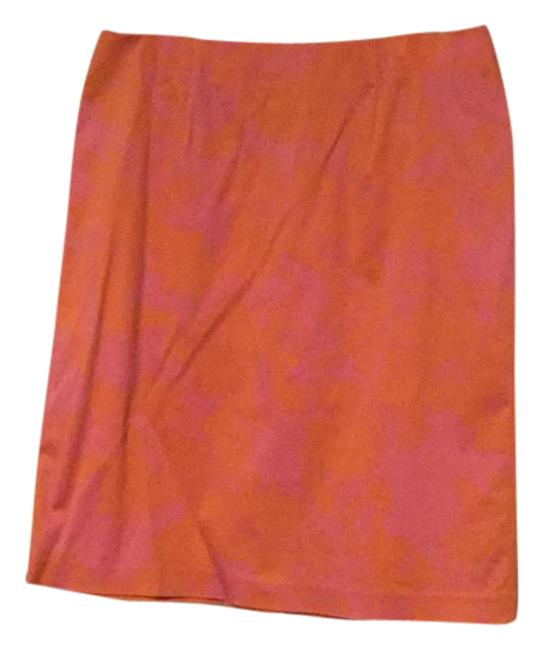 Item - Pink and Coral Abstract Print Stretch Skirt Size 10 (M, 31)