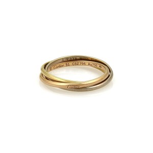 Cartier Trinity 18k Gold 1.2mm Rolling Band Ring Size EU 51-US 5.75 w/Cert
