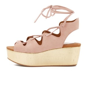 See by Chlo nude pink, gold bottom Wedges