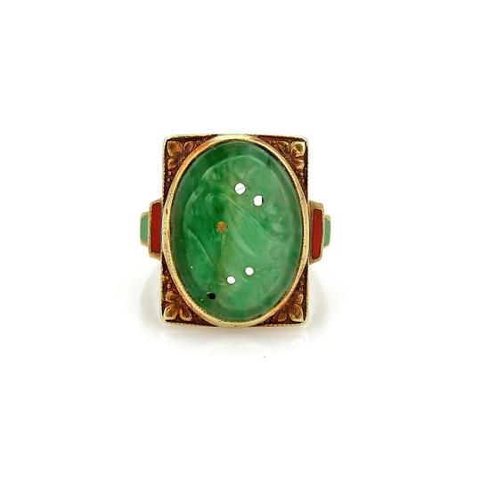 Preload https://img-static.tradesy.com/item/22031231/yellow-gold-green-jade-antique-carved-14k-coral-inlay-floral-ring-0-0-540-540.jpg