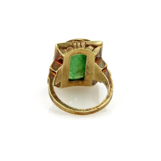 Other Antique Carved Jade 14k Yellow Gold Coral Inlay Floral Ring