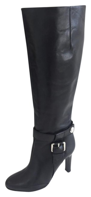 Item - Black Knee High Leather with Buckle Detail Boots/Booties Size EU 37 (Approx. US 7) Regular (M, B)