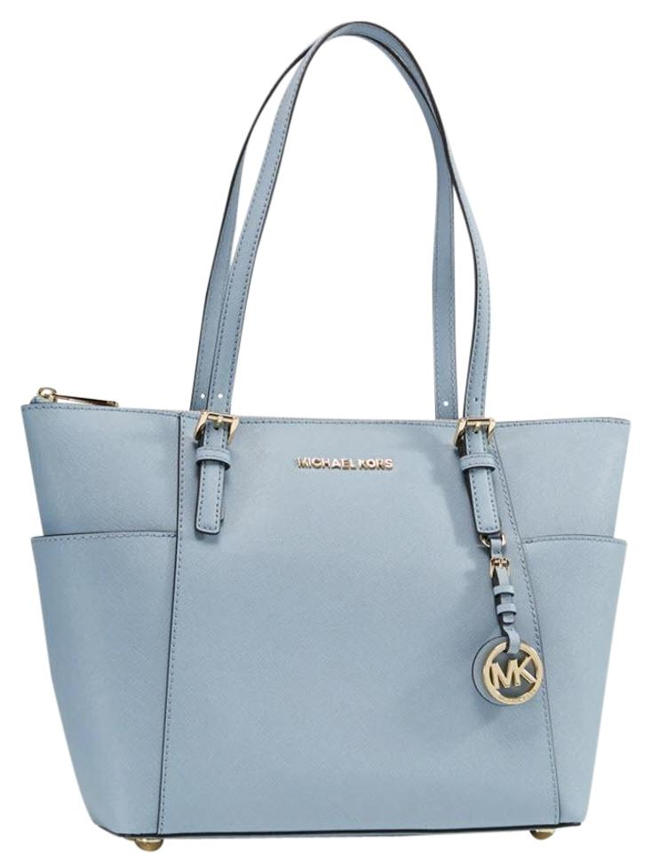 175e3b82814c5 Michael Kors 30f2sttt8l Denim Leather Jet Set Tote in PALE BLUE Image 0 ...