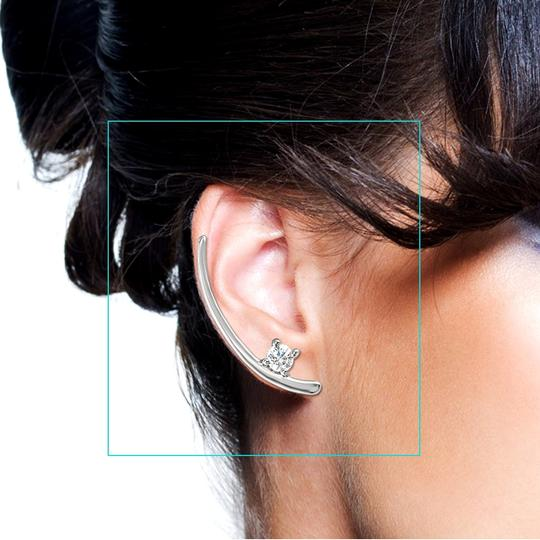 Marco B 925 Sterling Silver Two Stone CZ Ear Climbers Push Back Image 1
