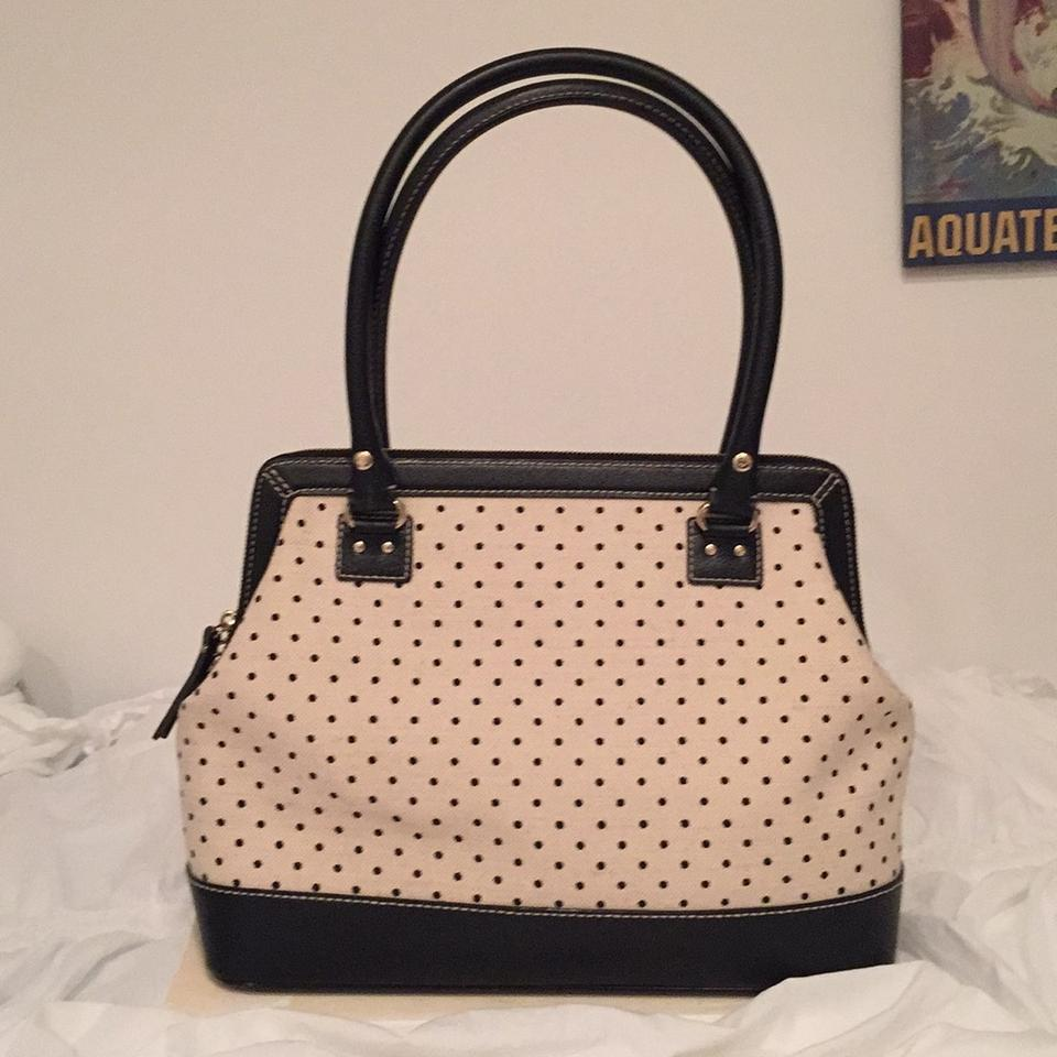 Kate spade classic polka dot purse canvas satchel tradesy junglespirit Image collections