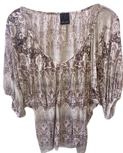 Ella Moss Ikat Dolman Lightweight Flattering Soft Top charcoal grey, pewter and ivory