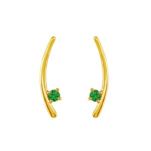 Marco B Yellow Gold Vermeil Two Stone Emerald Climber Earrings