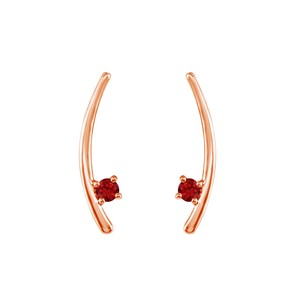 Marco B 14K Rose Gold Vermeil Two Stone Ruby Climber Earrings