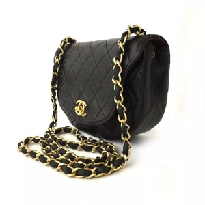 3bcb17c9af02 Added to Shopping Bag. Chanel Shoulder Bag. Chanel Quilted Half Moon Cc  Logo Lambskin Chain Mini Black Leather ...