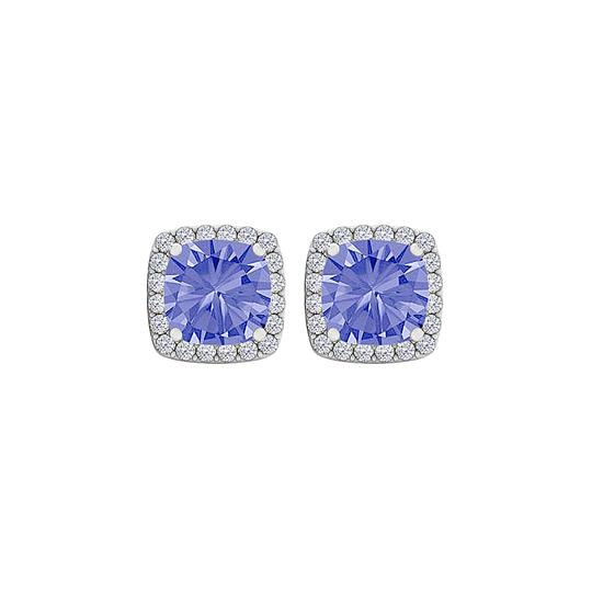 Marco B Tanzanite CZ Halo Earrings Push Back Sterling Silver Image 0