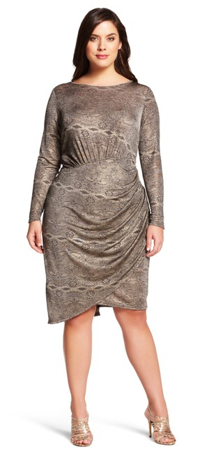 Preload https://img-static.tradesy.com/item/22031976/adrianna-papell-gold-long-sleeve-printed-scoop-neck-mid-length-cocktail-dress-size-12-l-0-0-650-650.jpg