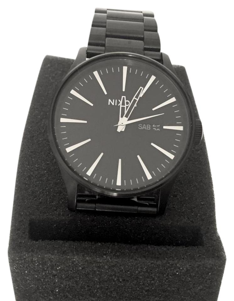 watch leather nixon from sentry medium watches stamped black brown