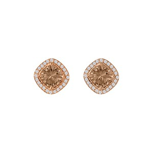 Marco B Smoky Quartz CZ Rhombus Square Stud Earrings Vermeil