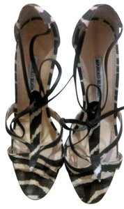 Manolo Blahnik Zebra Brown and Cream Sandals