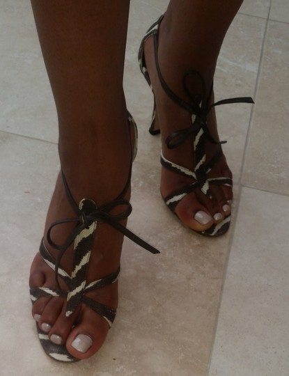 Manolo Blahnik Zebra Brown and Cream Sandals Image 2