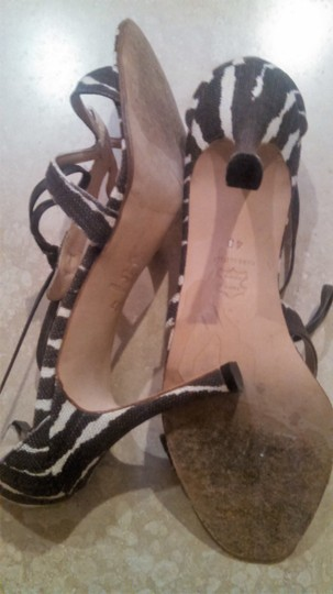 Manolo Blahnik Zebra Brown and Cream Sandals Image 3