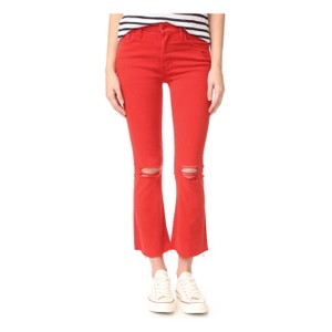 Mother Skinny Pants red