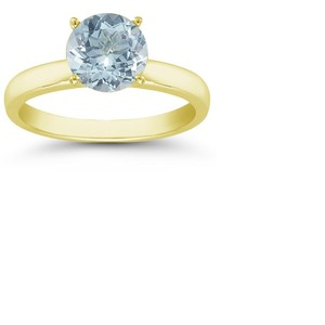 Apples of Gold Aquamarine Gemstone Solitaire Ring in 14K Yellow Gold