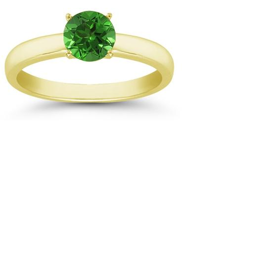 Apples of Gold Emerald Gemstone Solitaire Ring in 14K Yellow Gold Image 2