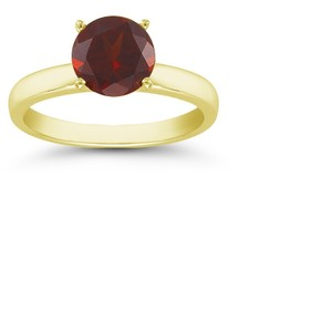 Apples of Gold Garnet Gemstone Solitaire Ring in 14K Yellow Gold