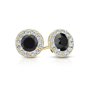 Marco B Onyx and CZ Halo Stud Earrings in 14K Yellow Gold 2.00.ct.tw