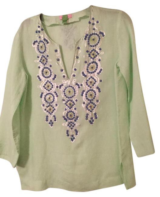 Preload https://img-static.tradesy.com/item/22032499/lilly-pulitzer-mint-and-navy-tunic-size-4-s-0-1-650-650.jpg