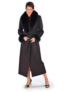 madisonavemall Cashmere Fox Trim Fur Real Fur Fur Women Coat