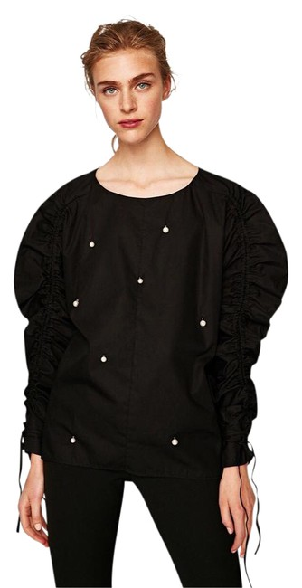Preload https://img-static.tradesy.com/item/22032731/zara-black-shirt-with-faux-pearls-and-gathered-sleeves-blouse-size-6-s-0-1-650-650.jpg