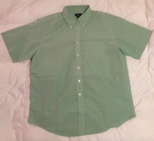 Brooks Brothers Button Up Short Sleeve Men's Button Up Button Down Shirt Green and Blue Plaid