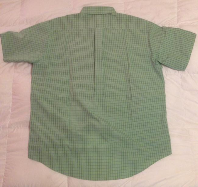 Brooks Brothers Button Up Short Sleeve Men's Button Up Button Down Shirt Green and Blue Plaid Image 1