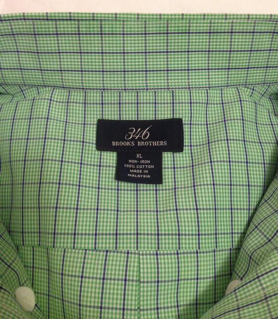 Brooks Brothers Button Up Short Sleeve Men's Button Up Button Down Shirt Green and Blue Plaid Image 2