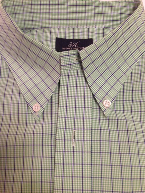 Brooks Brothers Button Up Short Sleeve Men's Button Up Button Down Shirt Green and Blue Plaid Image 3