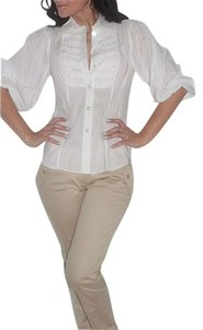 Diane von Furstenberg Casual 3/4 Sleeve Button Down Shirt White