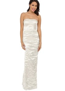 Nicole Miller Ivory Sharon Ga0003 Strapless Embellished Techno Metal Trumpet Gown Destination Wedding Dress Size 6 (S)