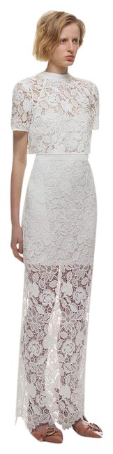 Item - White Marcela Guipure Lace Short-sleeve Bridal Gown Long Formal Dress Size 2 (XS)