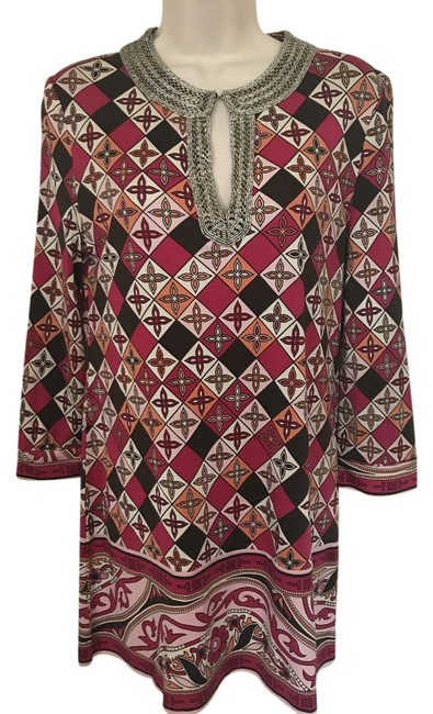 Item - Multicolor Classic Embellished Print Silk Tunic Size 4 (S)