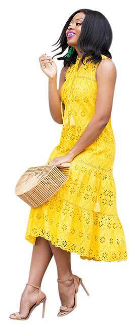 Item - Yellow Eyelet Patio Sunflower Small 8 Mid-length Casual Maxi Dress Size 6 (S)