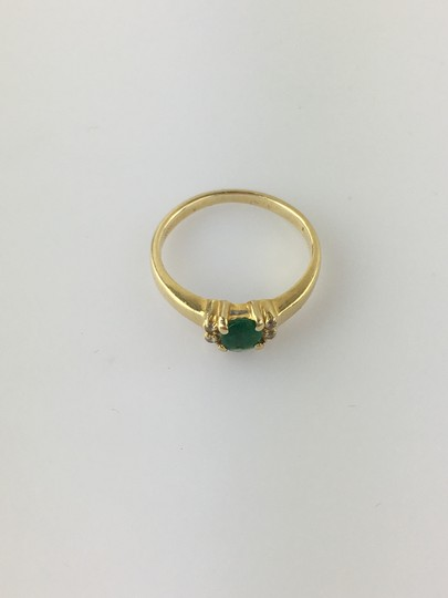 Dubai Gold Ring Green and Clear Stone Image 1