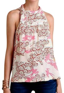 Anthropologie Woven Fabric Right Shoulder Tie Pullover Styling Super Sweet Print Versatile Top Pink