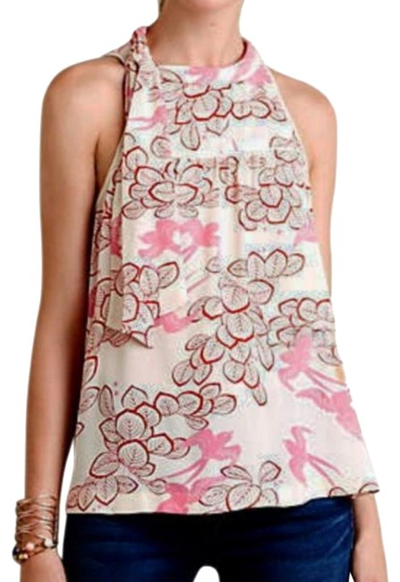 Anthropologie Woven Fabric Right Shoulder Tie Pullover Styling Super Sweet Print Versatile Top Pink Image 0
