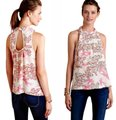 Anthropologie Woven Fabric Right Shoulder Tie Pullover Styling Super Sweet Print Versatile Top Pink Image 1