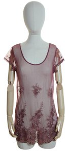 Lucky Brand Sheer Lace Embroidered Short Sleeve Knit Top Brick Red