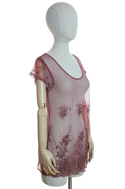Lucky Brand Sheer Lace Embroidered Short Sleeve Knit Top Brick Red Image 1