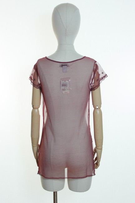Lucky Brand Sheer Lace Embroidered Short Sleeve Knit Top Brick Red Image 2
