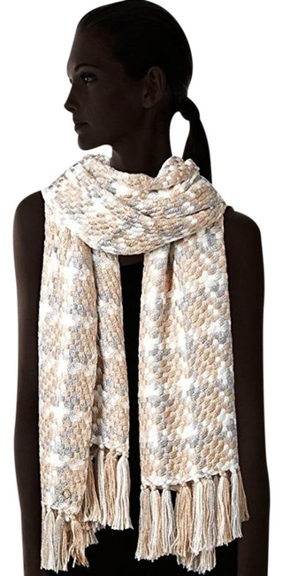 Item - Almond and White Blanket Oversized Scarf/Wrap