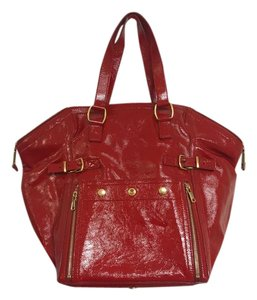 Yves Saint Laurent Patent Leather Large Tote in Red