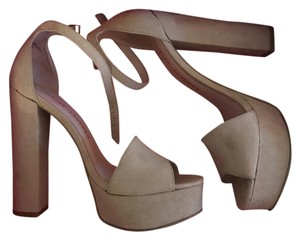 Chinese Laundry taupe suede Platforms