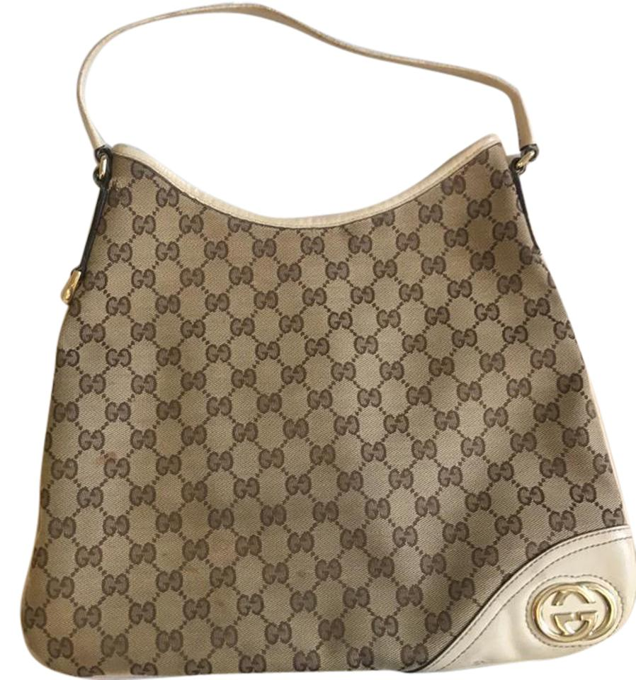 4669ef3de Gucci Britt Monogram New Medium In Tan/Cream Trim Cream Canvas and ...