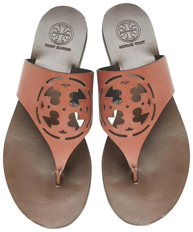 e4ecbed60 Tory Burch Red Brown Leather Logo Thong Sandals. Size  US 5 Regular (M ...